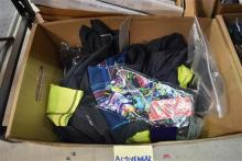 A box of assorted activewear