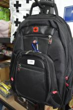 A black backpack marked Swiss Army