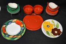 A Collection Of Red & Green Ceramic Dinnerware