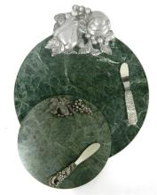 Two Green Marble Cheese Boards with Matching Knives