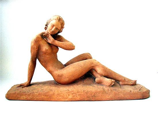 An Impressive Art Deco Terracotta Figural Sculpture by Ugo Cipriani (1887-1960)