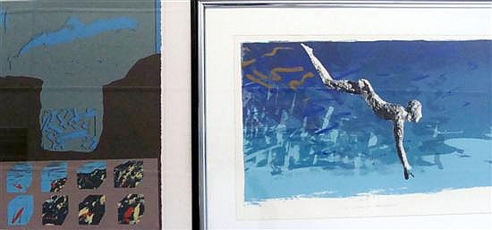 † Rick Badger (b.1946) Diver II + Temple Fragments 1980 (2) Each Silkscreen ed. 7/10, 2/11