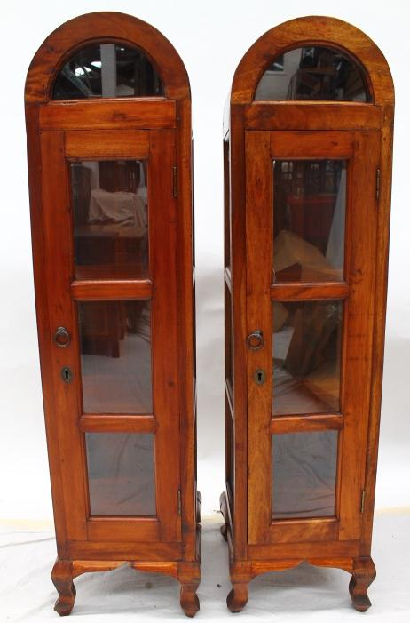 A Pair Of Arch Top Timber Display Cabinets