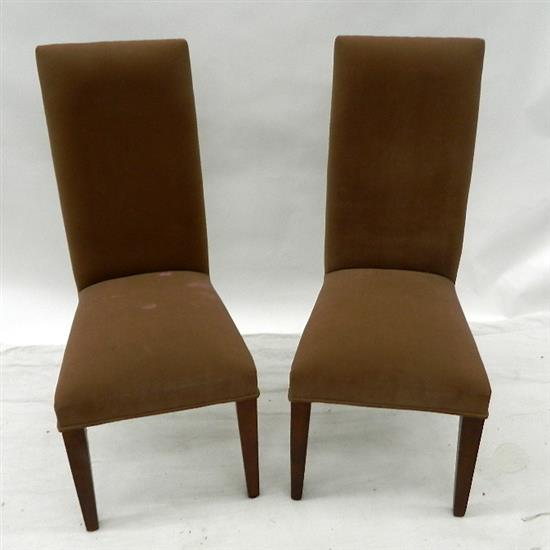 lot 838 a pair of suede upholstered tallback dining chairs