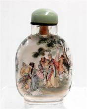 A Chinese Inside Painted Glass Snuff Bottle, Journey to the West [Monkey King] Theme, Signed by Yun Chuan