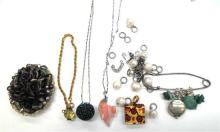 A Collection of Costume Jewellery including Brooches, Necklaces,