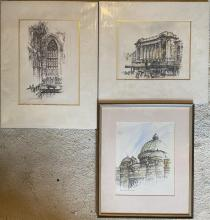 Allan Gamble (1907-2001) The Chancel St Andrew's Cathedral, Regent Theatre George Street, The QVB Central Bay Pen, ink & wash