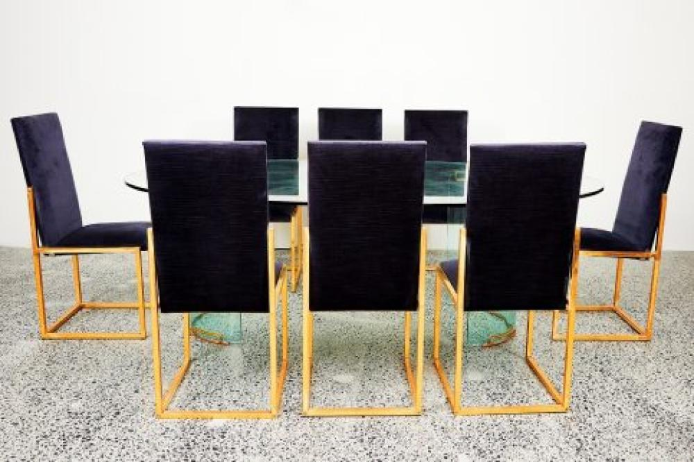 Sold Price A Hollywood Regency Dining Table With Ten Matching Dining Chairs Attributed To Charles Hollis Jones American B 1945 June 3 0120 6 00 Pm Aest