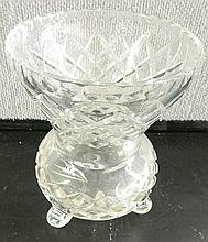 A footed Crystal Vase and a Crystal Decanter together with a period cut Crystal Set AF