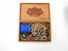 A Cigar Box of Costume Jewellery