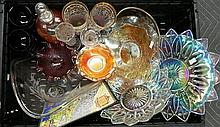 A Mixed Lot of Glassware incl; Carnival Glass Platters, Bowls, Decanter etc