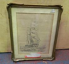 A Ship Pencil drawing in Frame