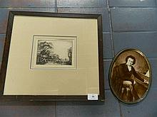 A Elioth Gruner Etching and a Framed Print of Beethoven