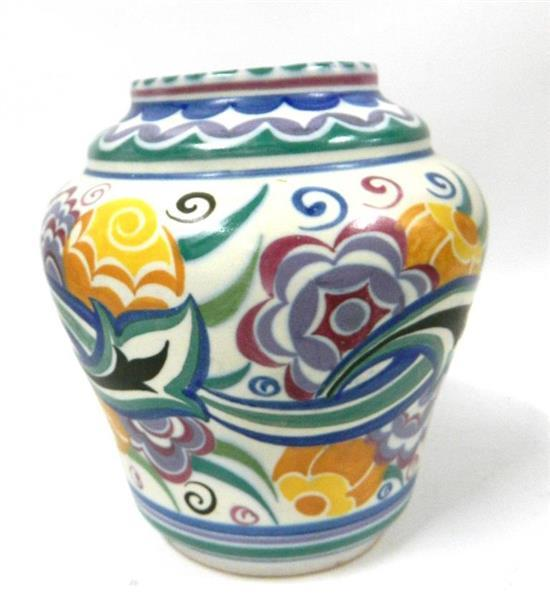 A Poole Pottery Vase With Floral Decoration Impressed Mark