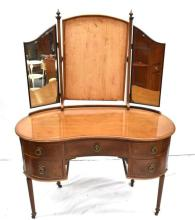 A Timber Dresser with Bat Wing Swing Mirror,