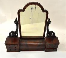 A Flame Mahogany Dresser Top with Swing Mirror