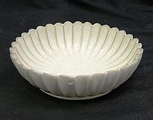 A Chinese White Crackle Glazed Lobed Bowl