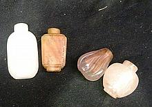 Four 19th Century Hardstone Snuff Bottles