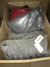 A box of assorted knitwear incl. chunky knit scarf marked Country Road