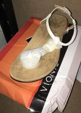 A pair of therapeutic sandles marked Vionic with damaged box size 39
