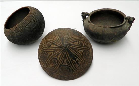 Three New Guinea Pottery Vessels (3),