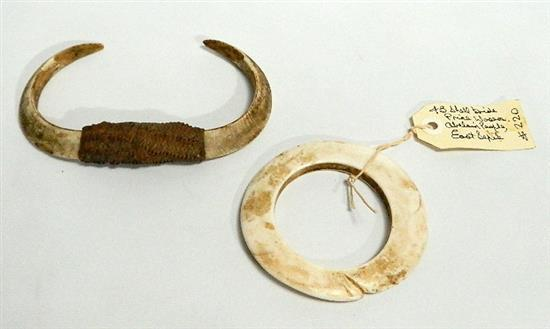 A Abelam Clam Shell Bride Price and a Pair of Boar''s Tusks (2),