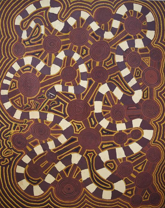 Freddy West 1989 Snake Dreaming at Nyirrminya synthetic polymer paint on Belgian Linen