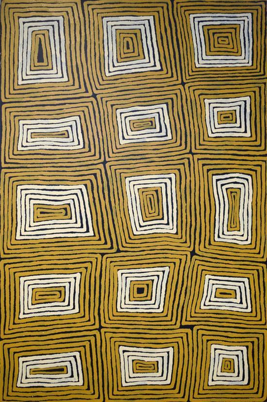 Ronnie Tjampitjinpa 1996 Tingari Cycle synthetic polymer paint on Belgian Linen