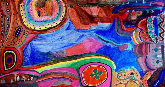 Fitzroy Crossing collaborative created during an exhibition at KA 2000 Ngurra Canvas synthetic polymer paint on canvas