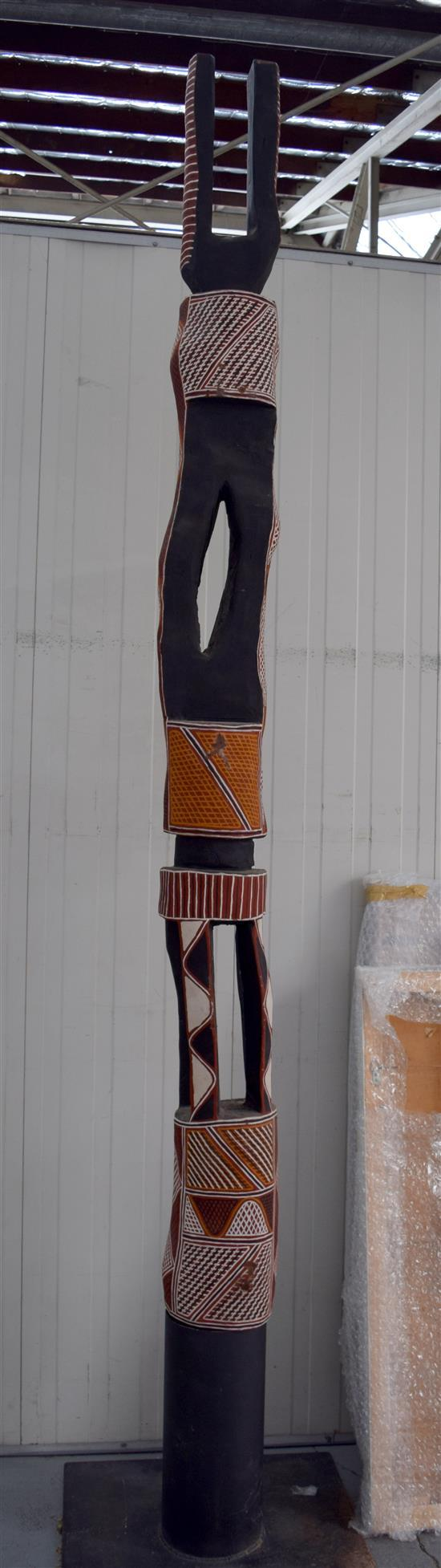 Artist Unknown 1993 Tiwi Pukumani Funerary Pole Natural earth pigments on carved bloodwood