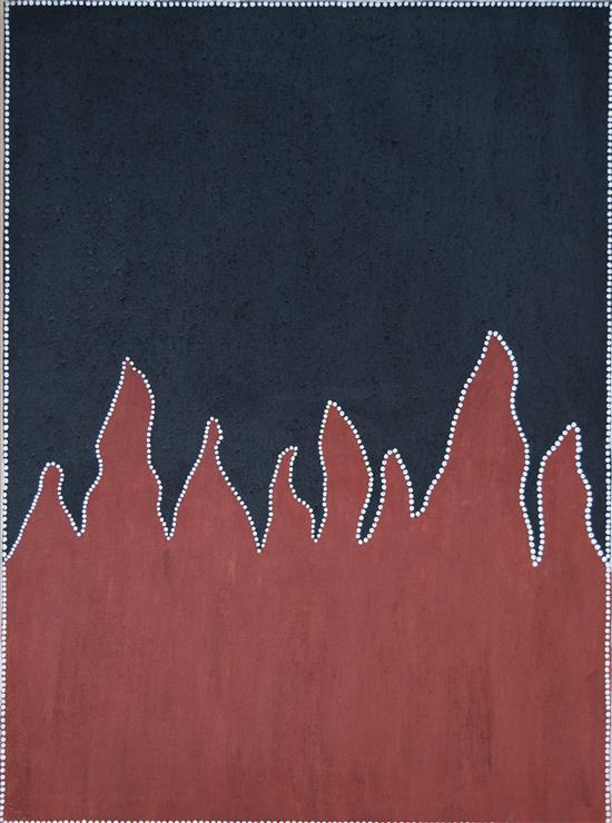 Marcia Purdie 2000 Kimberly Bush Fire natural earth pigments on canvas