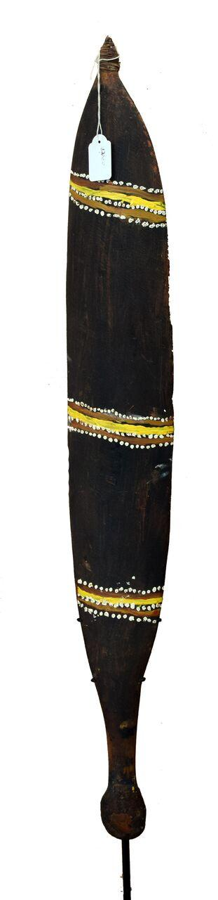 Jimmy Tjungurrai 1998 Woomera natural earth pigments on carved wood