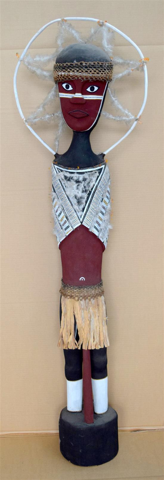 Terry Yumbulul 1998 Female Spirit Figure feathers, ochre on carved wood