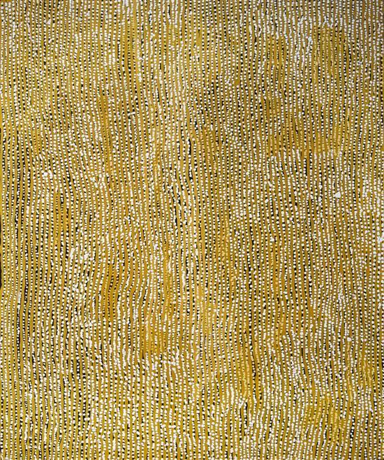 Willy Tjungarrayi 2003 Tingari at Kaakuratintja synthetic polymer paint on Belgian Linen