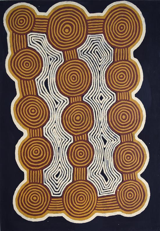 Ronnie Tjampitjinpa 1997 Tingari Cycle synthetic polymer paint on Belgian Linen