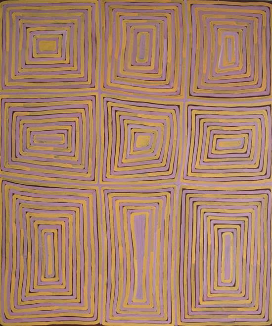 Ronnie Tjampitjinpa c. 1996 Tingari synthetic polymer paint on Belgian Linen