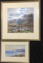 Charles Goldsborough Anderson (1865-1936) English Sunlight on Cliffs + Mist on in the Highlands (2) Each watercolour