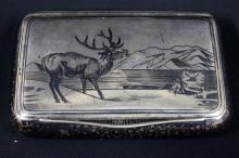 An Austrian Silver and Niello Snuff Box decorated with a Reindeer, Vienna 1872-1922