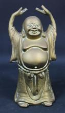 A Small Brass Statue of Buddha with Raised Hands