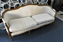 A Louis XV Style Three Seater Upholstered Sofa, Oak Frame