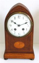 An English Wooden Inlaid Mantle Clock,