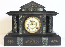 An American Black Slate and Marble Mantle Clock by the Ansonia Clock Co New York,