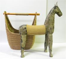 A Painted Rustic Horse with Hessian Blanket & Leather Ears, + Eleptical Shaped Woven Basket [2]