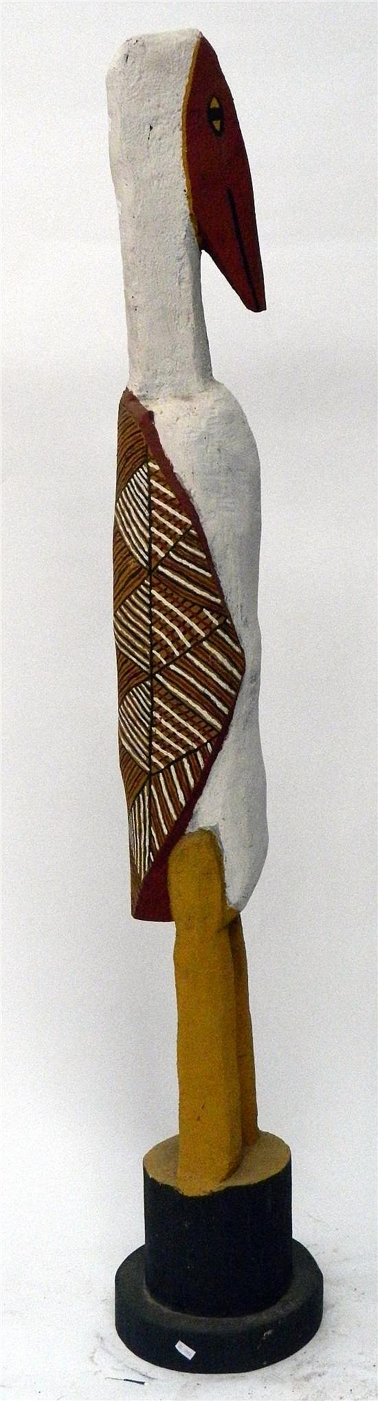 Artist Unknown Tiwi Islands Bird Figure 1992 Earth Pigments on Ironwood