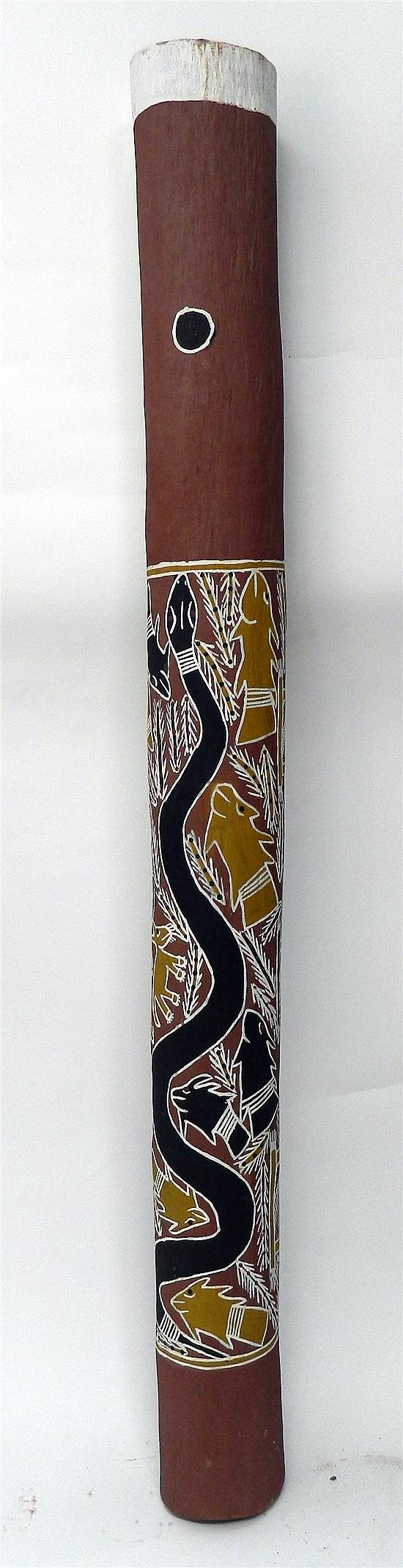 Artist Unknown North East Arnhemland Lorrken Burial Pole decorated with Kangaroo, Fish & Bird motifs 2000 Earth pigments on timber