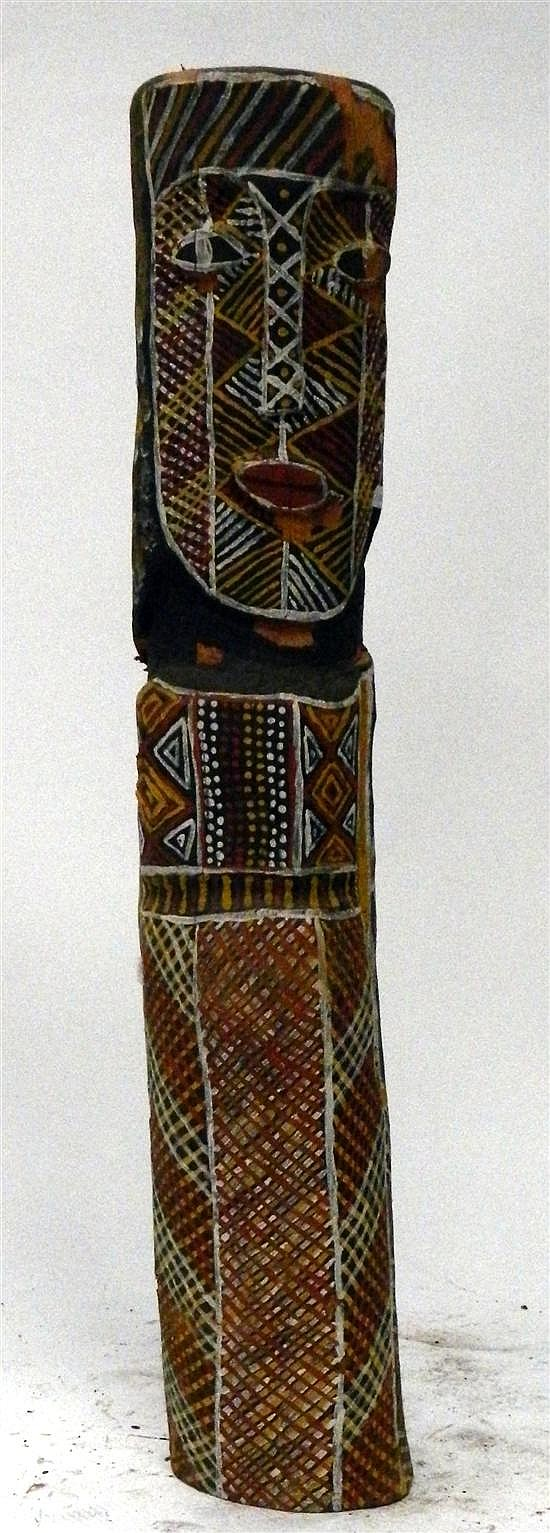 Artist Unknown Melville Island Tiwi Head Totem 1989 Earth pigments on Ironwood