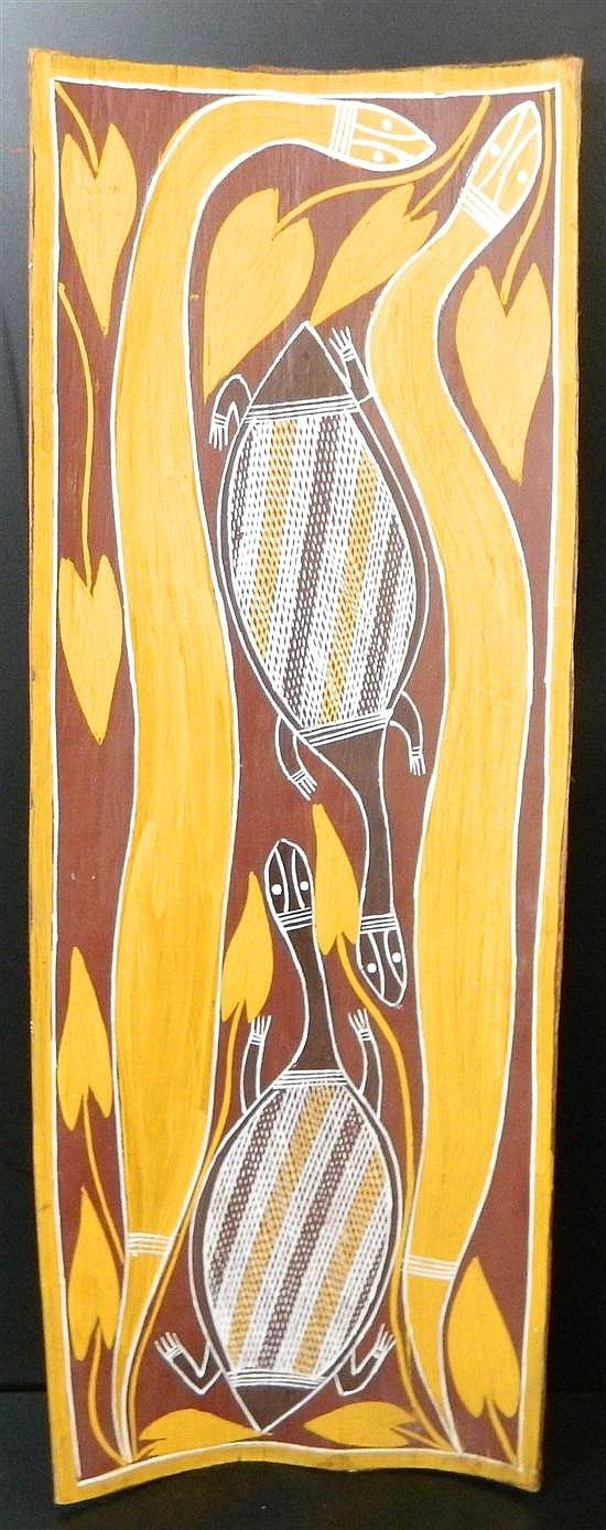 Roy BurnyilaGununggurr ga Minhala (Snake and Long Necked Turtle) 78 x 29cm