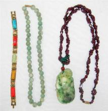 A Jade and Garnet Necklace plus other semi precious Jewels