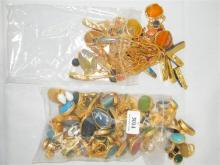 Two bags of Semi Precious Jewellery incl. Necklaces, Pendants, Rings etc