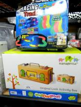 A Lock & Activity Box marked Mama Genius plus Hoot-Owl-Hoot Game and Racing Track